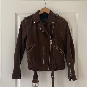 All Saints Brown Suede Moto Jacket US 4